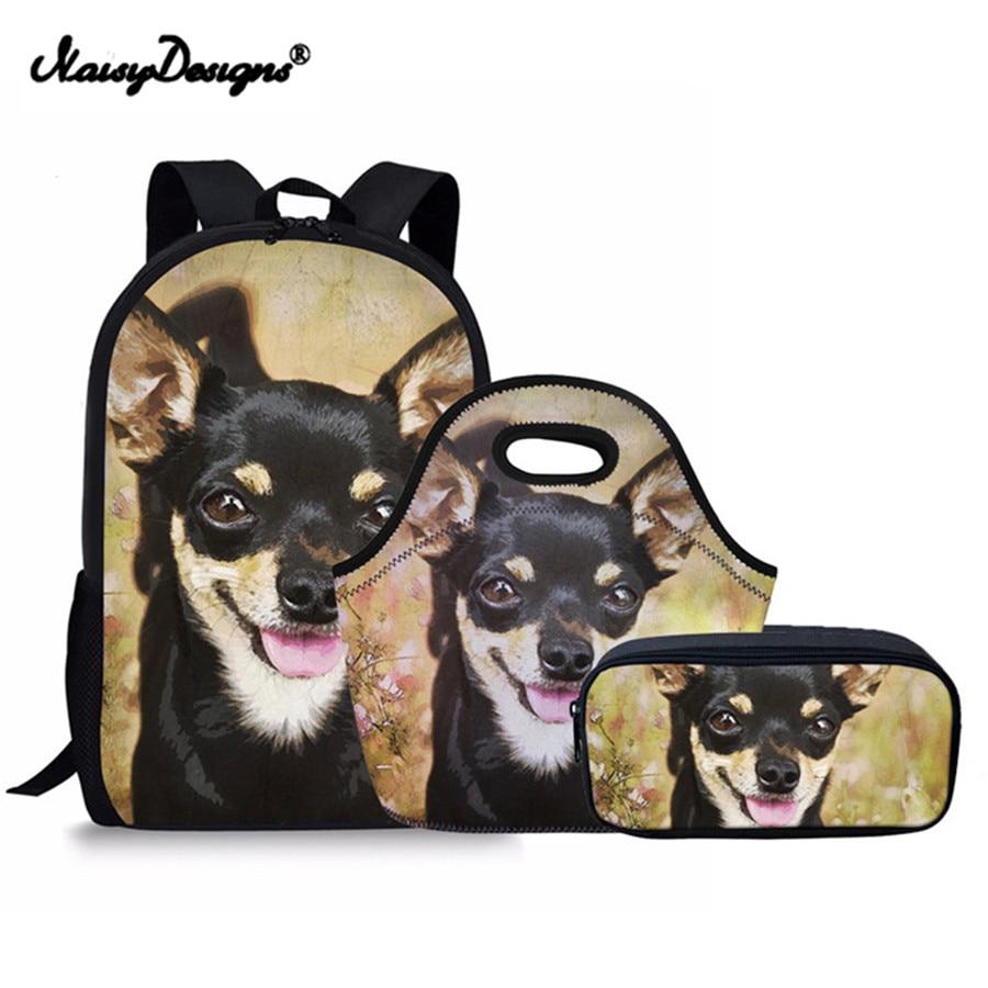 Kids Children Backpacks Sets Kawaii Chihuahua Print Backpack Schoolbag for Girls Boy School Satchel Mochila Wanna ONE Pencil Bag