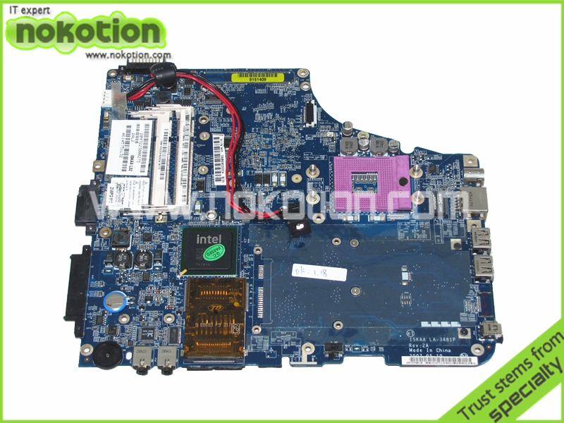 NOKOTION K000053930 ISKAA LA-3481P Laptop motherboard For toshiba Satellite A200 A205 GM965 DDR2 Mainboard Full Tested c660 integrated ddr3 for toshiba satellite c660 laptop motherboard k000128540 la 6849p full test