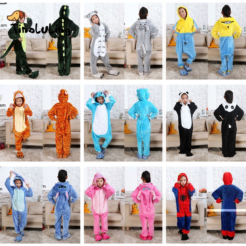 TINOLULING Kids Onesies Sleepwear Children Funny Animal Pajamas Baby Boys Girls Minions Spiderman Stitch Tiger Dinosaur Pijamas(China)