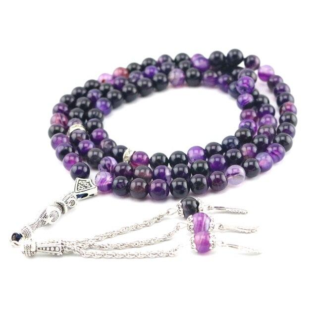 Natural Agate Round Shape 99 prayer Beads rosary Islamic Muslim tasbih Allah masbaha Misbaha tesbih Sibha subha tespeeh