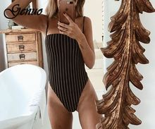 2019 New spaghetti straps stripe slash neck backless sexy bodycon bodysuit summer women fashion body