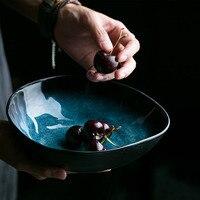 KINGLANG European Ceramic Blue Color Irregular Shaped Big Fruit Salad Noodle Bowl