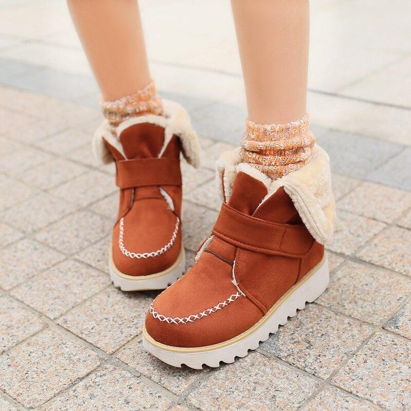 Women ankle boots warm winter shoes high quality snow boots fashion platform women boots plus size 34-42 43