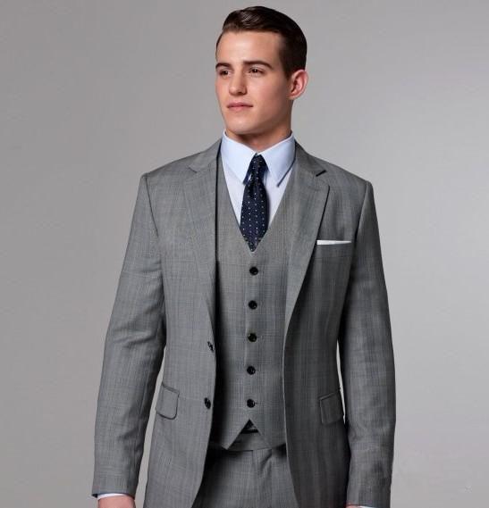 100% High Quality Slim Fit Groom Tuxedos Light Grey