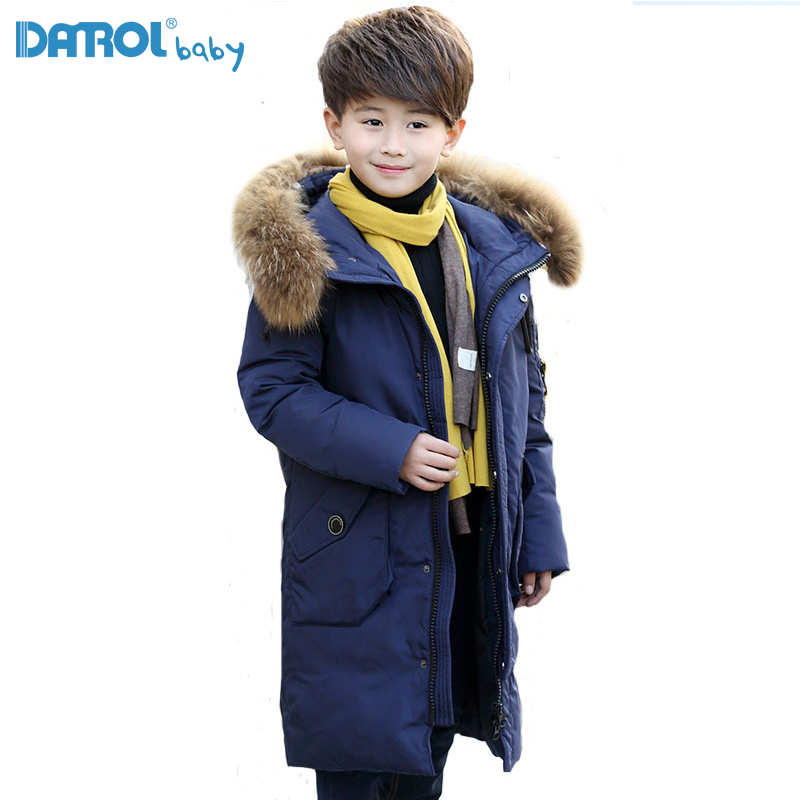 2017 Winter Fashion Fur Collar Long Children Boy Down Jacket Thicken X-Long Down Jackets With Hat Warm Winter Coat For Boys 8828 x long woman warm winter down coat camouflage brand really fur collar hood print down jackets with pockets size m 3xl