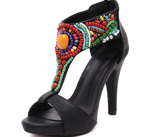Newest brand design women sandals Bohemian luxury mixed colors string bead thin high heels sandals women black peep toe shoes apoepo brand black luxury diamond sandals women sexy pointed toe string bead ladies shoes summer high heels sandals shoes 2018