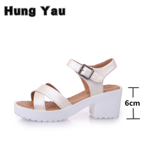Women Platform Sandals Plus Size 45 Gladiator Woman Open Toe Shoes Summer Style Hollow Out Weave