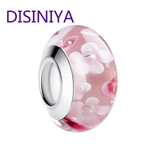 цена 2019 Hot Sale Flower Pink Murano Glass Beads Fit Original wst Silver Charm Bracelet Pendant  European DIY Jewelry Making