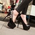 2016 The Spring Autumn Fashion Sexy Women Thin High Heels Platform Shoes Women Round Toe  Rhinestone Decorative Party Pumps