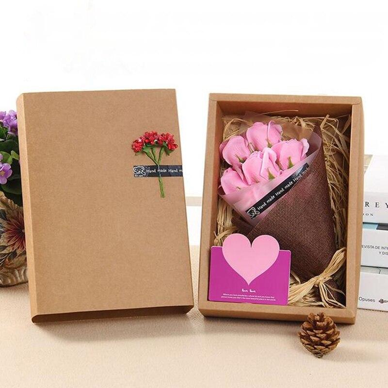 手作り7ピース風呂石鹸ローズフラワーブーケ+グリーティングカード花母の日/結婚式/誕生日/バレンタインの日ギフト