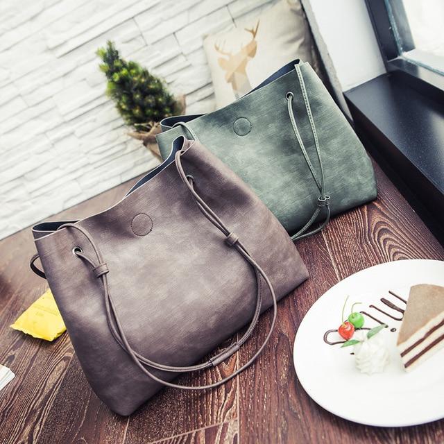 17f76cc507 2 Pcs Set Women Bags Bucket Bag Crossbody Single Shoulder Bags Totes Travel  Handbags Crossbody Messenger Bag Purse Fashion