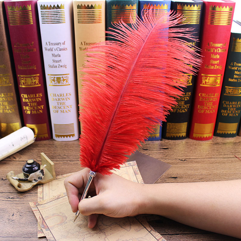 11 Colors Ostrich Feather Quill Ballpoint Pen For Wedding Gift Signature Pen Birthday Party Gift Home Decoration Office School