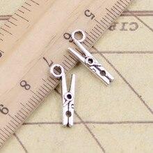 30 pçs encantos clothespin 18x8mm tibetano prata cor pingentes antigo jóias fazendo diy artesanal artesanato