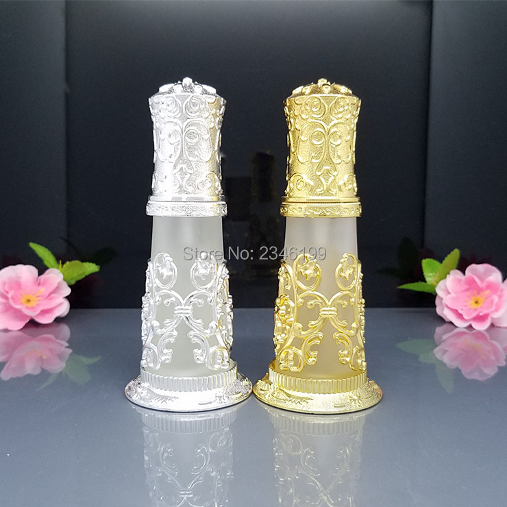 30ml Vintage Frosted Glass Gold Silver Spray Bottle Perfume Container Vials Portable Empty Cosmetic Packaging Bottle Atomizer