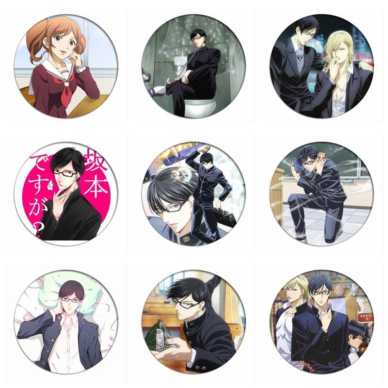 1pcs Sakamoto Desu Ga Cosplay Badge Brooch Cute Pins Collection Bags Badges For Backpacks Clothes For Xmas Gift