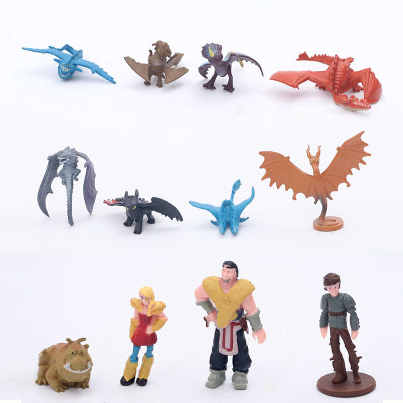 12Pcs Dragon Toothless Family Action Figure Light Fury Toothless Toys For Children's Birthday Gifts