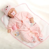 SanyDoll 22 inch 55 cm baby reborn Silicone dolls, lifelike doll reborn Cute pink piece of clothing to sleep baby