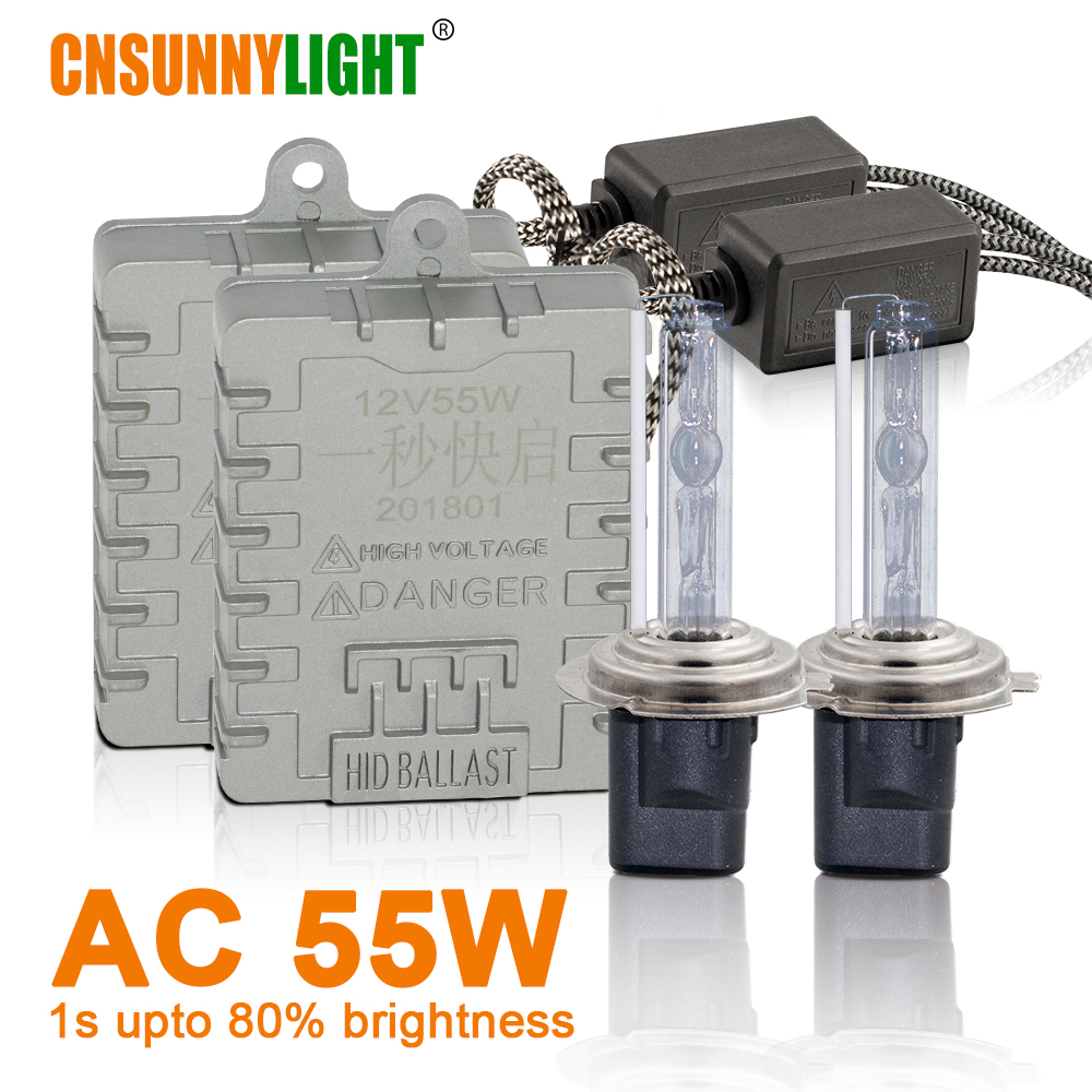 CNSUNNYLIGHT 1s Fast Bright 55W HID Xenon Headlight H7 H1 H3 H11 H8 HB3 HB4 9005