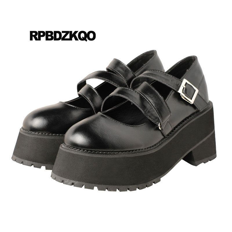 Strappy Thick High Heels Creepers Japanese Harajuku Cross Strap Pumps Women Round Toe Mary Jane Kawaii Platform Shoes LolitaStrappy Thick High Heels Creepers Japanese Harajuku Cross Strap Pumps Women Round Toe Mary Jane Kawaii Platform Shoes Lolita