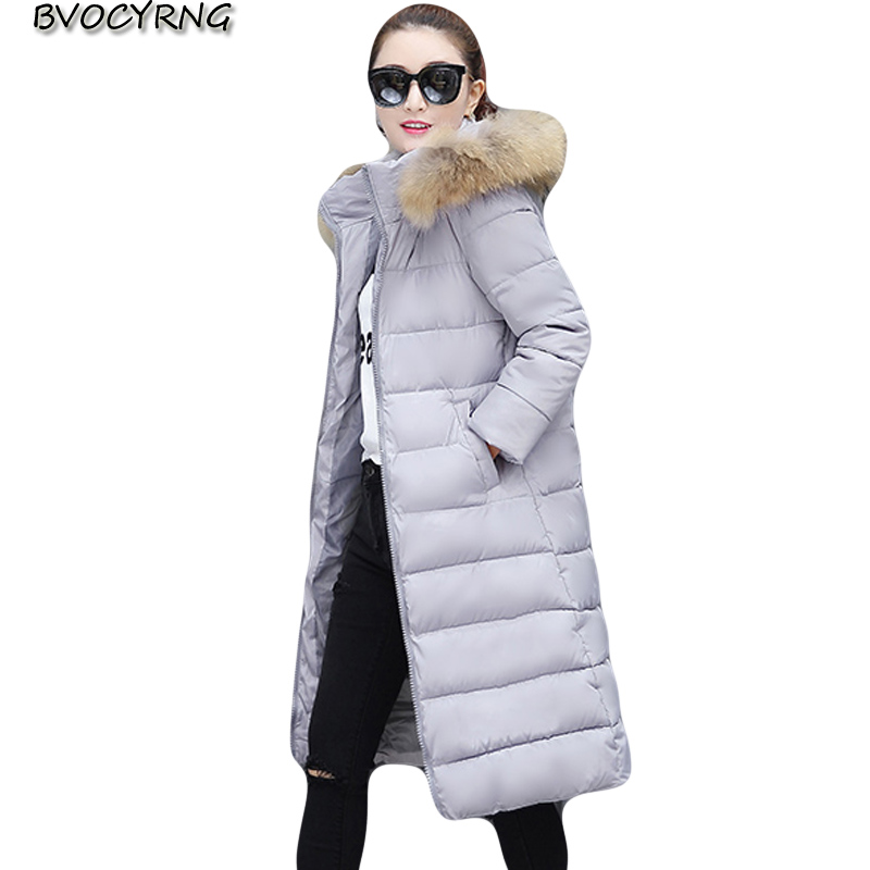 Korea Woman Winter Jacket 2017 Thick Warm Long Slim Coats High Quality Down Cotton Parka Hooded Plus Size Female Outwear A0025 retro with hood korea fashion slim winter coat female outwear down thick warm parka women
