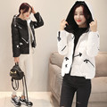 2016 New Women Jacket Coat Stand Collar Overcoat Fashion Outwear Pocket Zipper Hooded Parkas Cotton Padded  Topcoat YY61