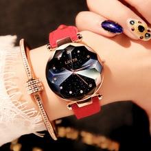 2018 Luxury Brand Gogoey Women Watches Personality romantic starry sky Wrist Watch Leather Rhinestone Designer Ladies Red Clock