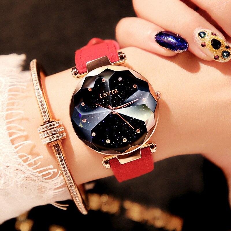 2018 marca de lujo Gogoey mujeres relojes personalidad romántico cielo estrellado reloj de cuero Rhinestone señoras del diseñador reloj rojo