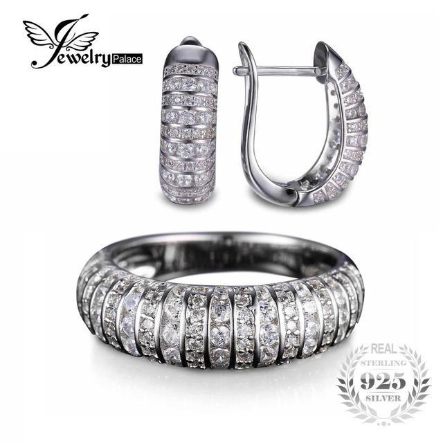 Jewelrypalace clássico aniversário tarja pedras projetado anel brinco 925 conjunto de jóias de prata esterlina 925 jóias finas para mulheres