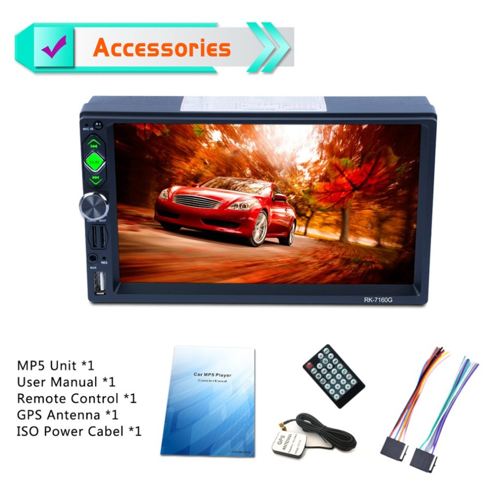 7inch Car MP5 Player Touch Screen Rear View Bluetooth Fast Charge FM/RDS Car Radio HD GPS Navigation Car Multimedia Player joyous j 2611mx 7 touch screen double din car dvd player w gps ipod bluetooth fm am radio rds