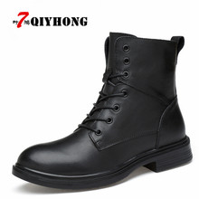 Купить с кэшбэком Winter Martin Military Boots Men Shoes Leather Men Boots Brand Fur Boots For Men Autumn Winter Shoes Zapatos Hombre Size 38-48