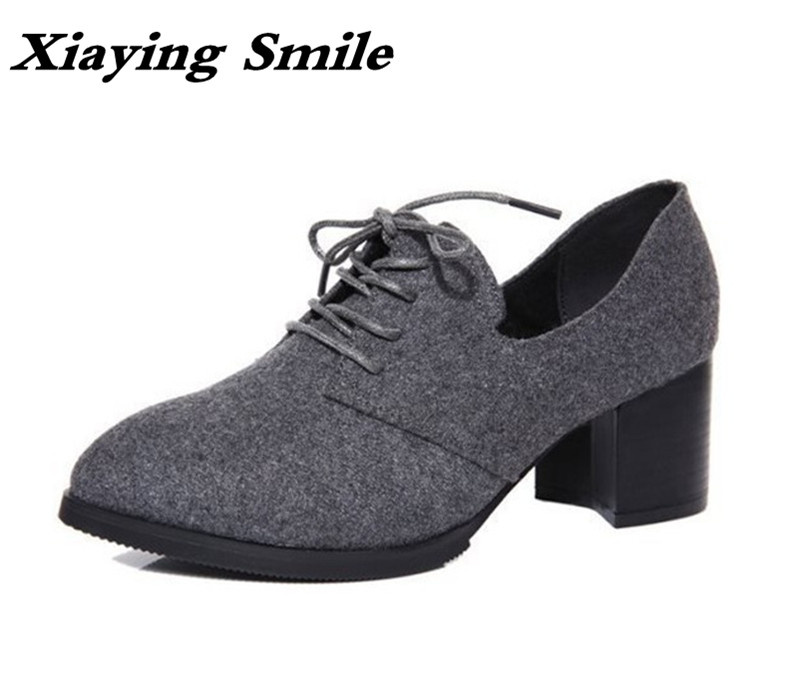 Xiaying Smile New Spring Autumn Women Pumps British Style Fashion Casual Lace Shoes Square Heel Pointed Toe Canvas Rubber Shoes xiaying smile new summer woman sandals shoes women pumps platform fashion casual square heel buckle strap open toe women shoes
