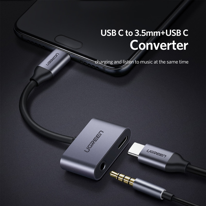 Ugreen USB C to Jack 3 5 Type C Cable Adapter For Huawei P20 Pro Xiaomi Mi 6 8 Note3 Mix USB Type C 3 5mm AUX Earphone Converter