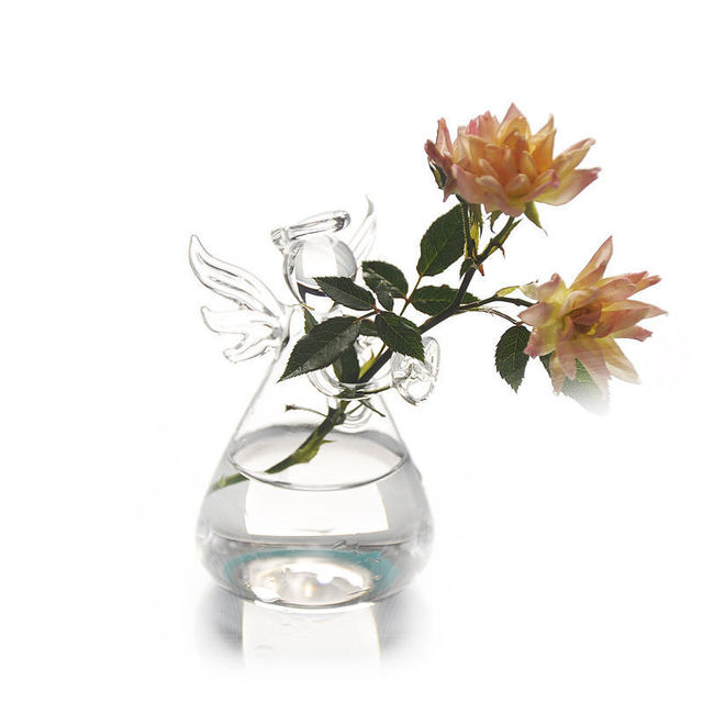 Cute Glass Angel Shape Flower Plant Hanging Vase Home Office Wedding Decor Clear Glass Flower Plant Angel 4