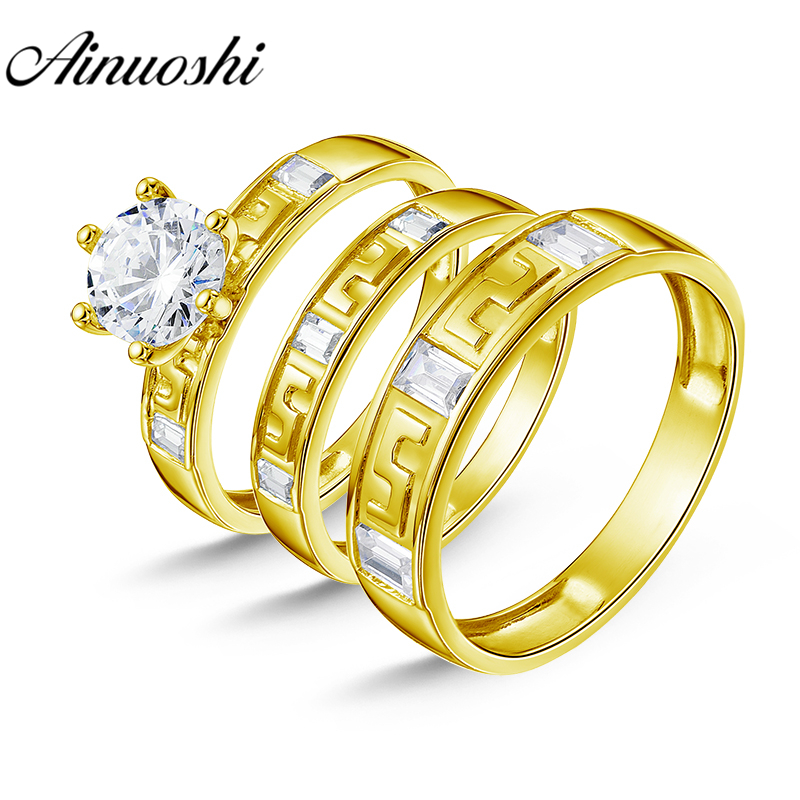 все цены на AINUOSHI 7.1g Real Gold TRIO Rings Set Engagement Jewelry 10K Yellow Gold Couple Wedding Rings Emerald Cut Band Bridal Ring Set онлайн