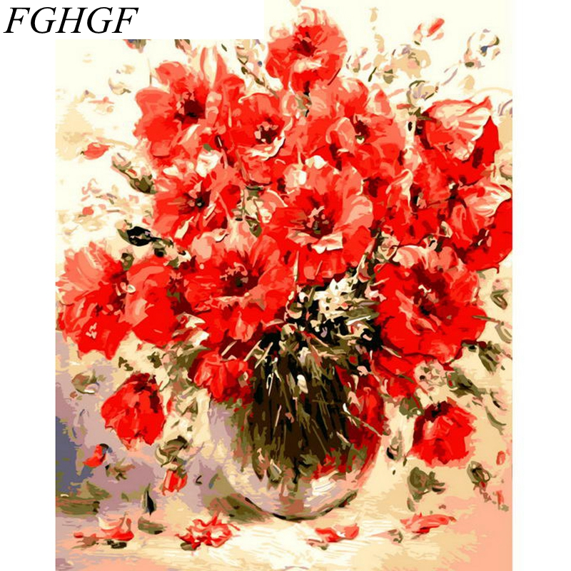 FGHGF Flower No Frame Pictures Painting By Numbers DIY Digital Canvas Oil Painting Home Decor For Living House