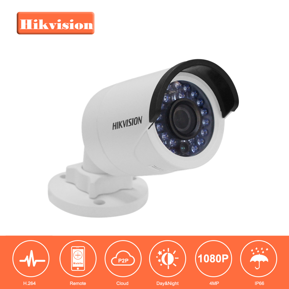 HIKVISION CCTV IP Camera DS-2CD2042WD-I 4MP Bullet Security IP Camera with POE Network camera Security Cameras Surveillance original hikvision 1080p waterproof bullet ip camera ds 2cd1021 i camera 2 megapixel cmos cctv ip security camera poe outdoor
