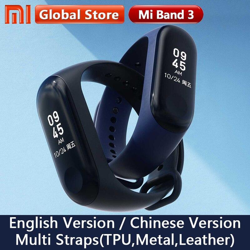 Original Xiaomi Mi Band 3 versión Global pulsera inteligente Multi idioma Miband 3 OLED pantalla táctil Mi band3 Fitness Bracele
