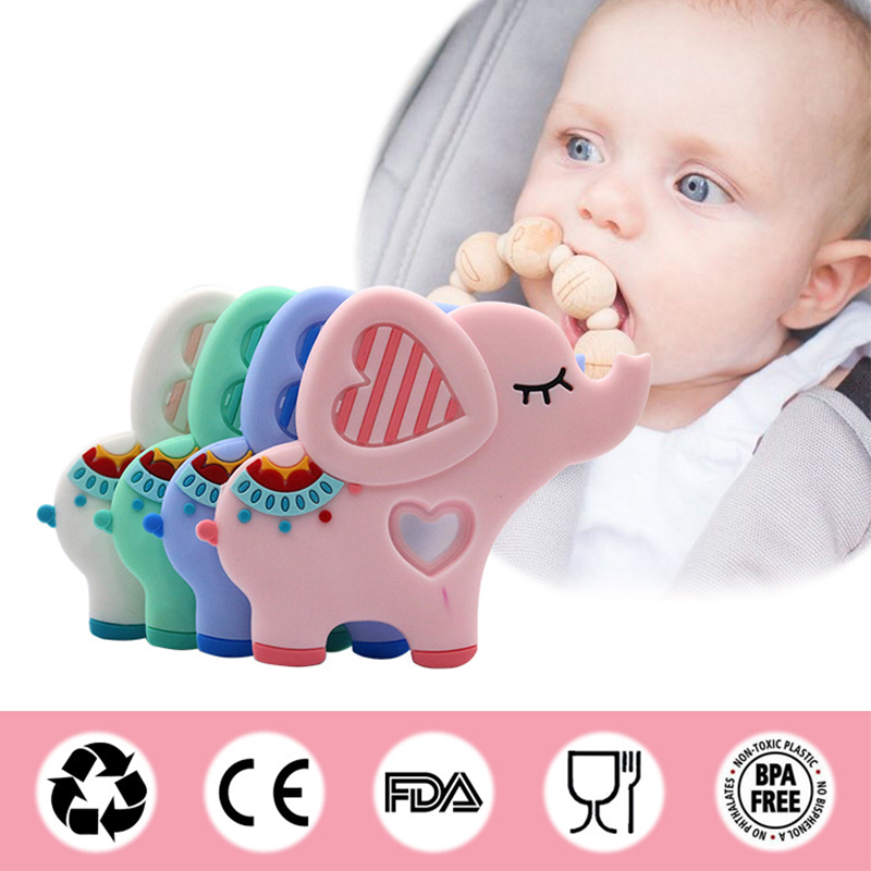 Safe Silicone Baby Teether Cute Cartoon Animal Elephant Toy Infant DIY Chain Necklace Teether Chew Charms BPA Free Kids Teething