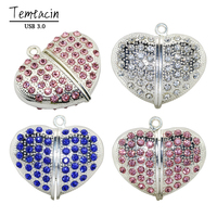 Lovely Heart USB Flash Drive 64GB 64GB Necklace Chain PenDrive 8GB 32GB 16GB PenDrive 3 0