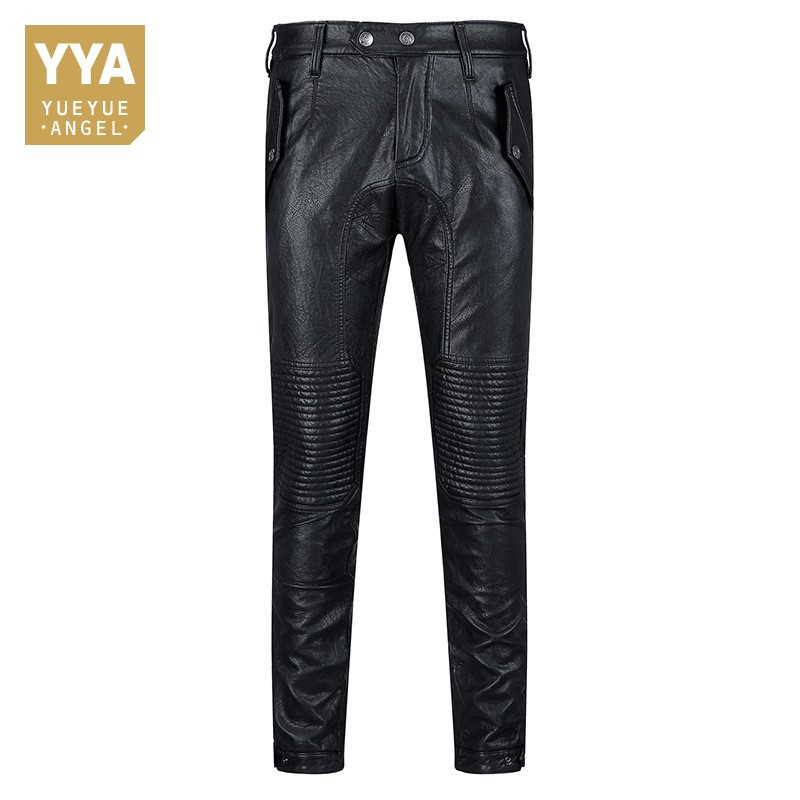 Autumn 2018 New Korean Fashion Sheepskin Leather Mens Pants Straight Slim Biker Long Trouser Streetwear High Quality Pant Man