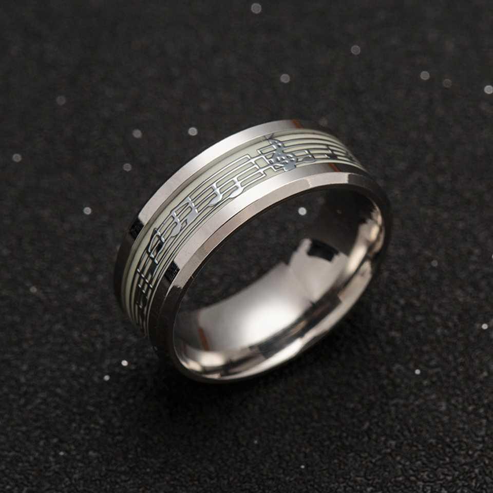 Anéis luminosos de piano, para homens e mulheres, de aço inoxidável, luz verde, brilha no escuro, noivado, moda joias,