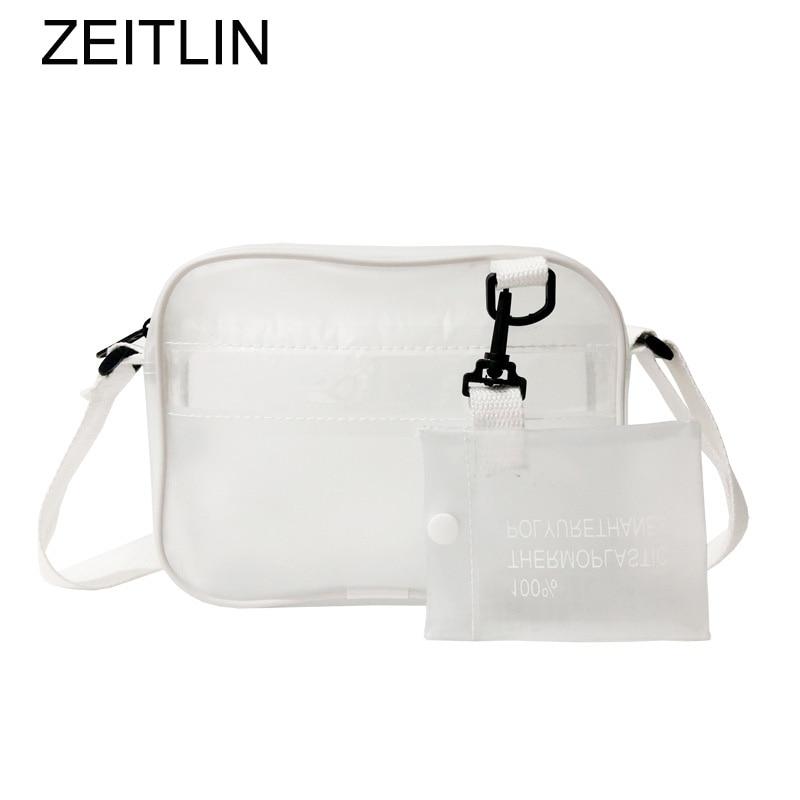 White Transparent Shoulder Bag Clear Beach Bag Canvas Strap Casual Crossbody Bags 2018 Summer Fashion Designer Purse Bolsas S530