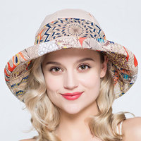 נשים נופש בסגנון לאומי עיצוב 2017 קיץ כובע UV הוכחה הנשי דלי כובעי כובע קש פשתן כותנה סיבתי שובר רוח בארה 'ב