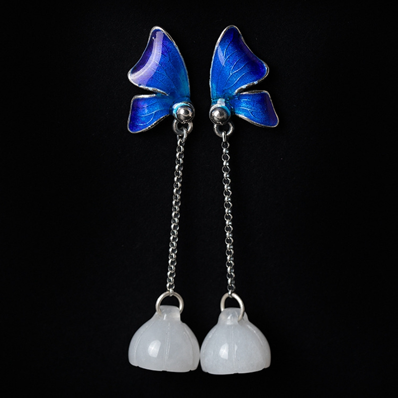 Pure handmade 12mm white jade sterling 925 silver enamel butterfly earrings elegant ethnic design drop earrings women jewelry pair of elegant faux white jade hoop earrings for women page 2