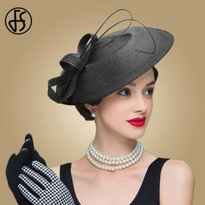 Image 3 - FS Fascinators Black And White Weddings Pillbox Hat For Women Straw Fedora Vintage Ladies Church Dress Sinamay Derby Hats