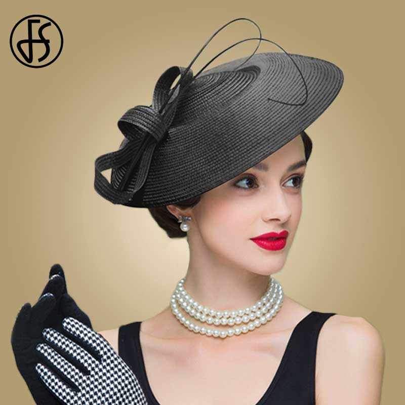 d23d48e593b ... FS Fascinators Black And White Weddings Pillbox Hat For Women Straw  Fedora Vintage Ladies Church Dress ...