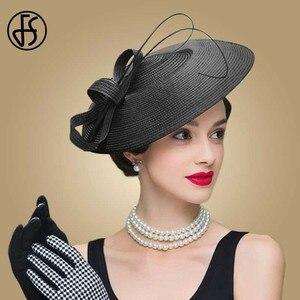 Image 3 - FS chapeau à pilulier de mariage pour femmes, fascinateurs en paille, robe déglise Vintage, chapeaux de Derby Sinamay