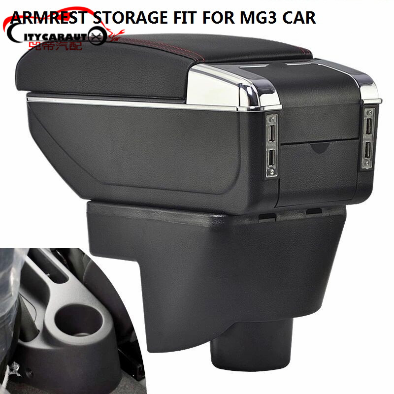 CITYCARAUTO BIGGEST SPACE+LUXURY+USB Car armrest box central Storage content box with cup holder USB FIT FOR MG3 2007-2016