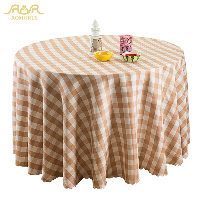 ROMORUS Modern Plaid Round Tablecloths Restaurant Table Cloth Round Table  Coffee Dustproof Dining Table Covers Toalha