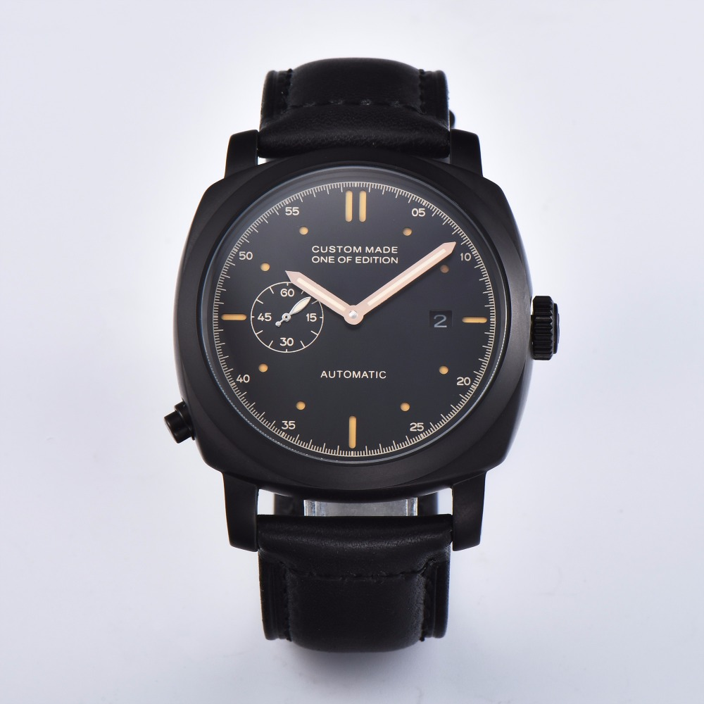 PARNIS  44MM  Mens  Clock Watch High Mineral Glass Black Stainless Steel Automatic Movement PS-02PARNIS  44MM  Mens  Clock Watch High Mineral Glass Black Stainless Steel Automatic Movement PS-02